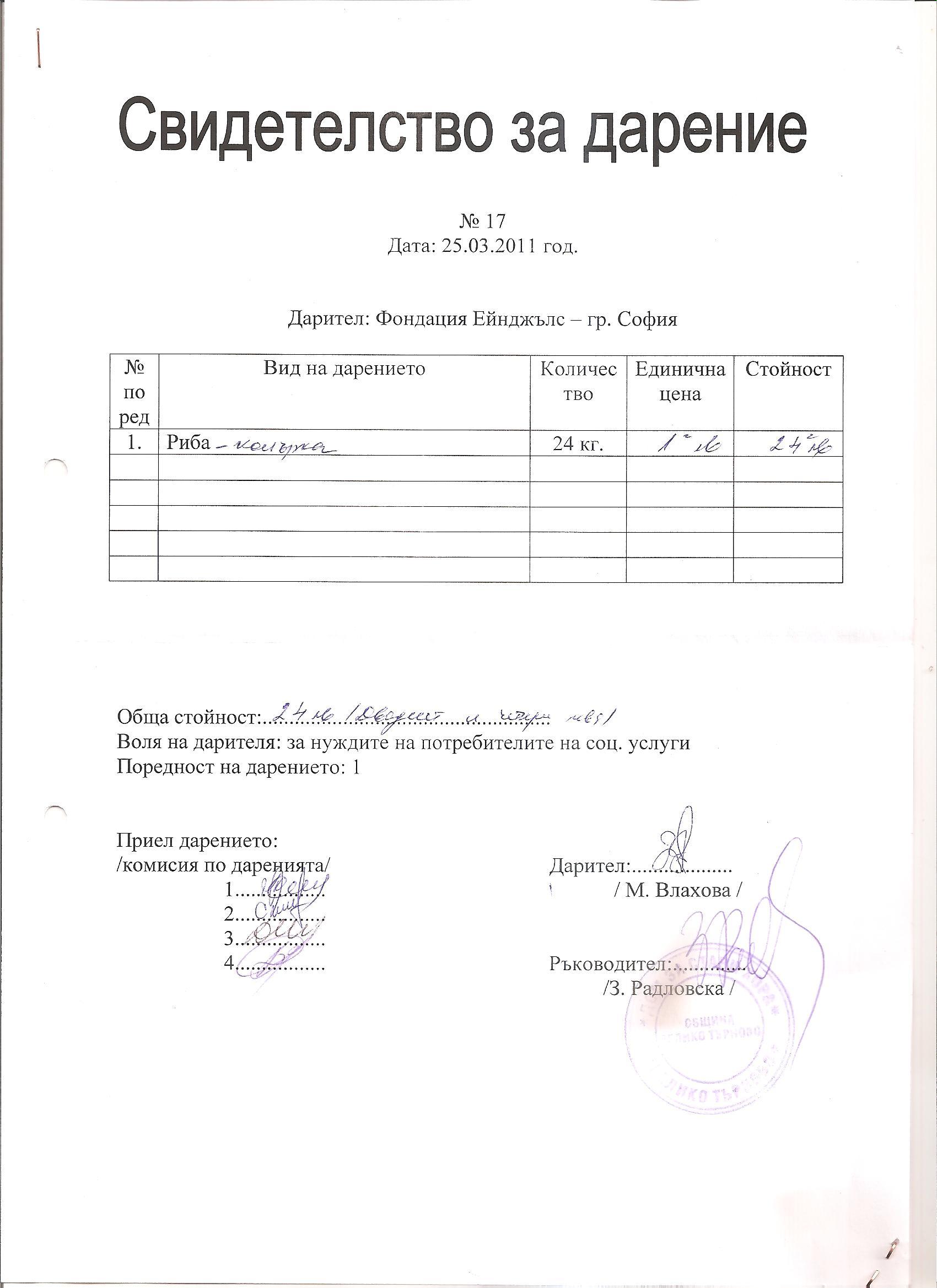 Фондация ЕЙНДЖЪЛСполучи отЦСУ-ДСХ-гр. Велико Търново, Свидетелство за дарение